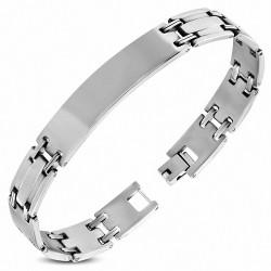 Bracelet homme plaque d'identité pouvant être gravée