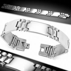 Bracelet homme acier motifs géométriques maille panthère