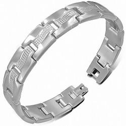 Bracelet homme acier grilles maille panthère
