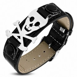 Bracelet homme ceinture similicuir noir crâne de pirate