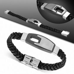 Bracelet homme similicuir noir et plaque en acier finition mat