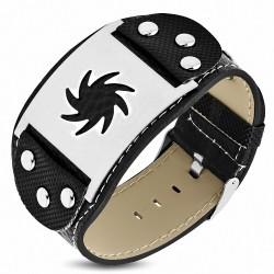 Bracelet homme cuir PVC ceinture plaque étoile de ninja