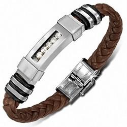 Bracelet homme cuir marron tressé plaquer acier avec strass
