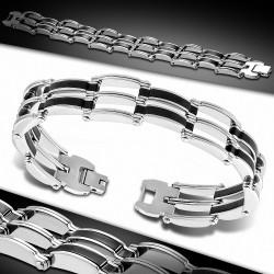 Bracelet homme acier et caoutchouc noir maille homme