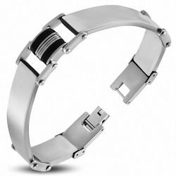 Bracelet homme larges plaques acier avec caoutchouc noir
