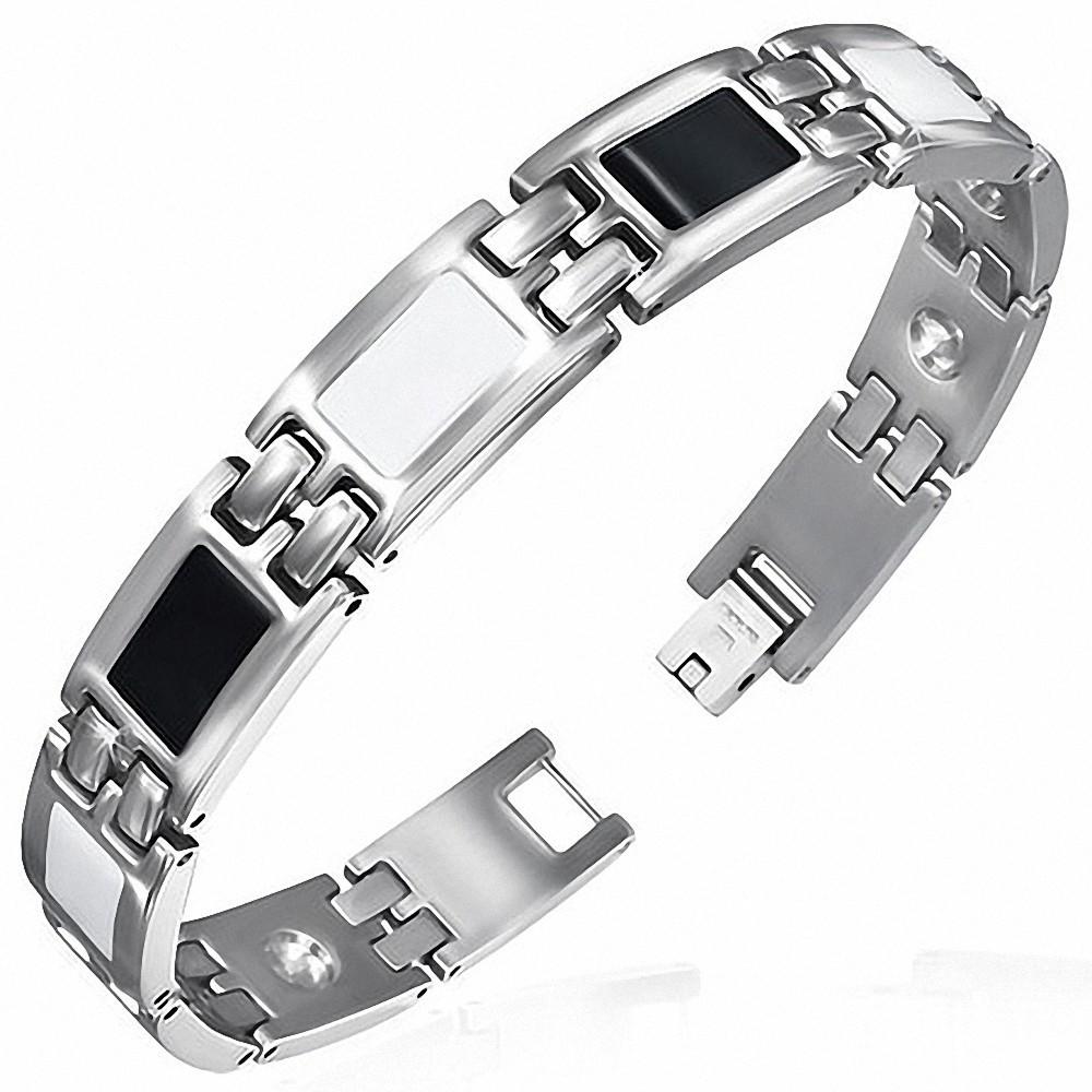 Bracelet homme acier 3 tons: argenté noir blanc
