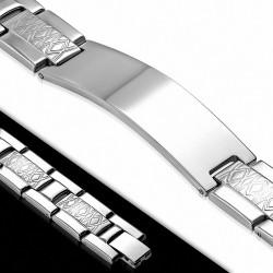 Bracelet homme en acier avec plaque identité