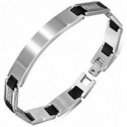 Bracelet homme acier inoxydable plaque et maillons caoutchouc