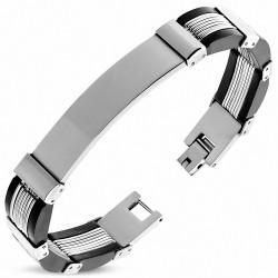 Bracelet homme acier inoxydable et caoutchouc noir plus plaque
