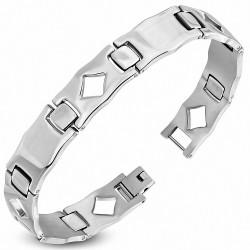 Bracelet homme acier rectangles maille panthère