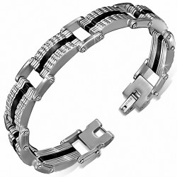 Bracelet homme acier et caoutchouc noir formes géométriques
