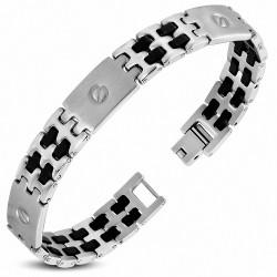 Bracelet pour hommes en acier et maillons caoutchouc noir