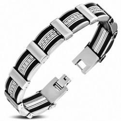 Bracelet pour hommes acier et caoutchouc noir maille panthère