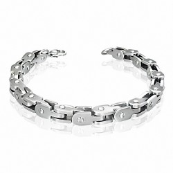 Bracelet homme acier liens géométriques