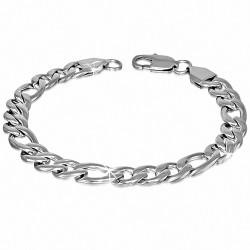 Bracelet homme acier maille figaro largeur 9 mm