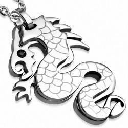 Pendentif homme dragon chinois strass noir