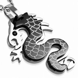 Pendentif homme noir dragon chinois strass noir
