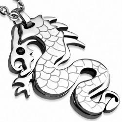 Pendentif homme argenté dragon chinois strass noir