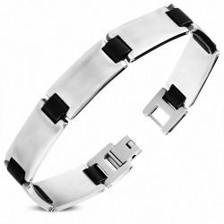 Bracelet homme plaques acier et liens en caoutchouc noir