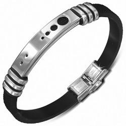 Bracelet homme caoutchouc noir avec plaque acier cercles