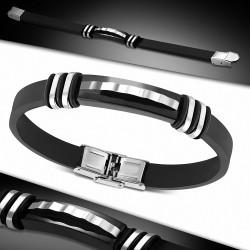 Bracelet homme caoutchouc noir avec plaque acier géométrique
