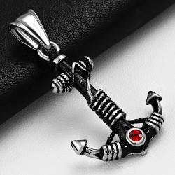 Pendentif homme ancre marine gemme rouge