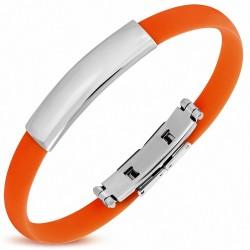 Bracelet homme caoutchouc orange plaque identité