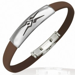 Bracelet homme caoutchouc marron tribal