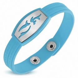 Bracelet homme watch caoutchouc bleu clair tribal