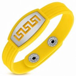 Bracelet homme watch caoutchouc jaune labyrinthe