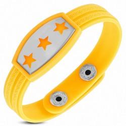 Bracelet homme watch caoutchouc jaune trois étoiles