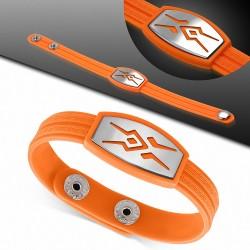 Bracelet homme watch caoutchouc orange  symbole tribal