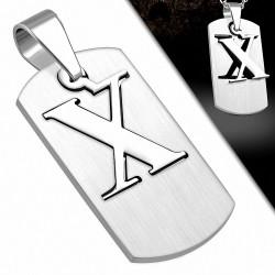 Pendentif homme plaque lettre X