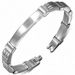 Bracelet pour hommes plaque identité en acier inoxydable