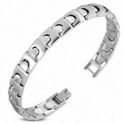 Bracelet homme en acier argenté maille façon puzzle
