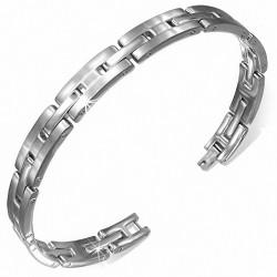 Bracelet pour hommes en acier avec plaque en forme de H
