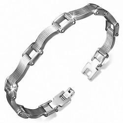 Bracelet pour hommes en acier avec maillons carrés