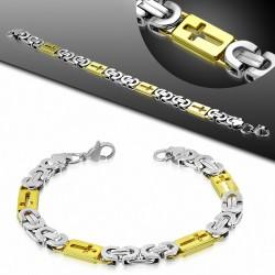 Bracelet homme argenté et doré croix maille byzantine largeur 8 mm