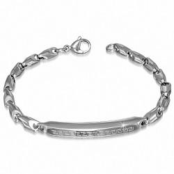 Bracelet homme en acier plaque avec motif clef grecque