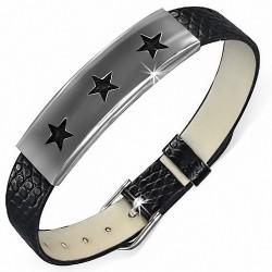 Bracelet homme cuir PVC noir avec plaque acier trois étoiles