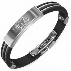 Bracelet homme caoutchouc noir cables et plaque lézard