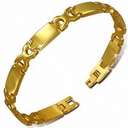 Bracelet pour hommes en acier doré avec liens en X