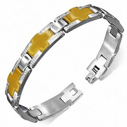 Bracelet pour hommes en acier avec croix de couleur dorée