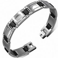 Bracelet homme en acier argenté avec maillons noirs