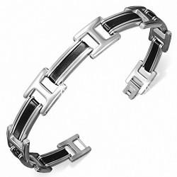 Bracelet pour hommes en acier et caoutchouc noir