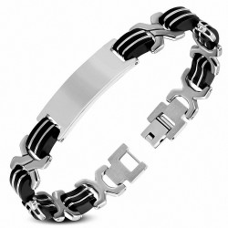 Bracelet pour hommes en acier et caoutchouc noir maillons en X