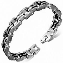 Bracelet pour hommes en acier avec du caoutchouc noir