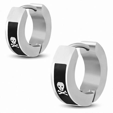 Boucles d'oreilles hommes en acier avec skull de pirate
