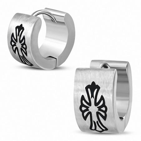 Boucles d'oreilles homme en acier anneaux croix fleur de lys