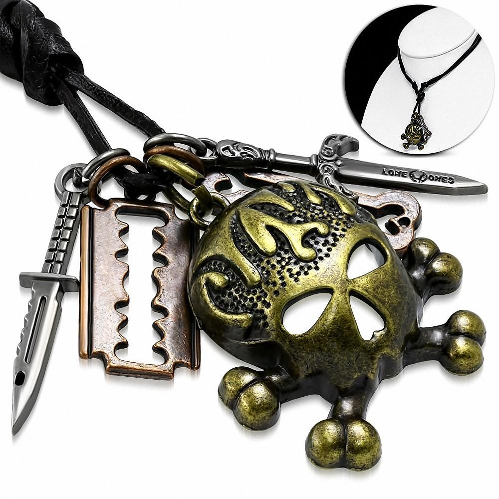 Collier homme cuir noir avec charms crâne de pirate couteau lame